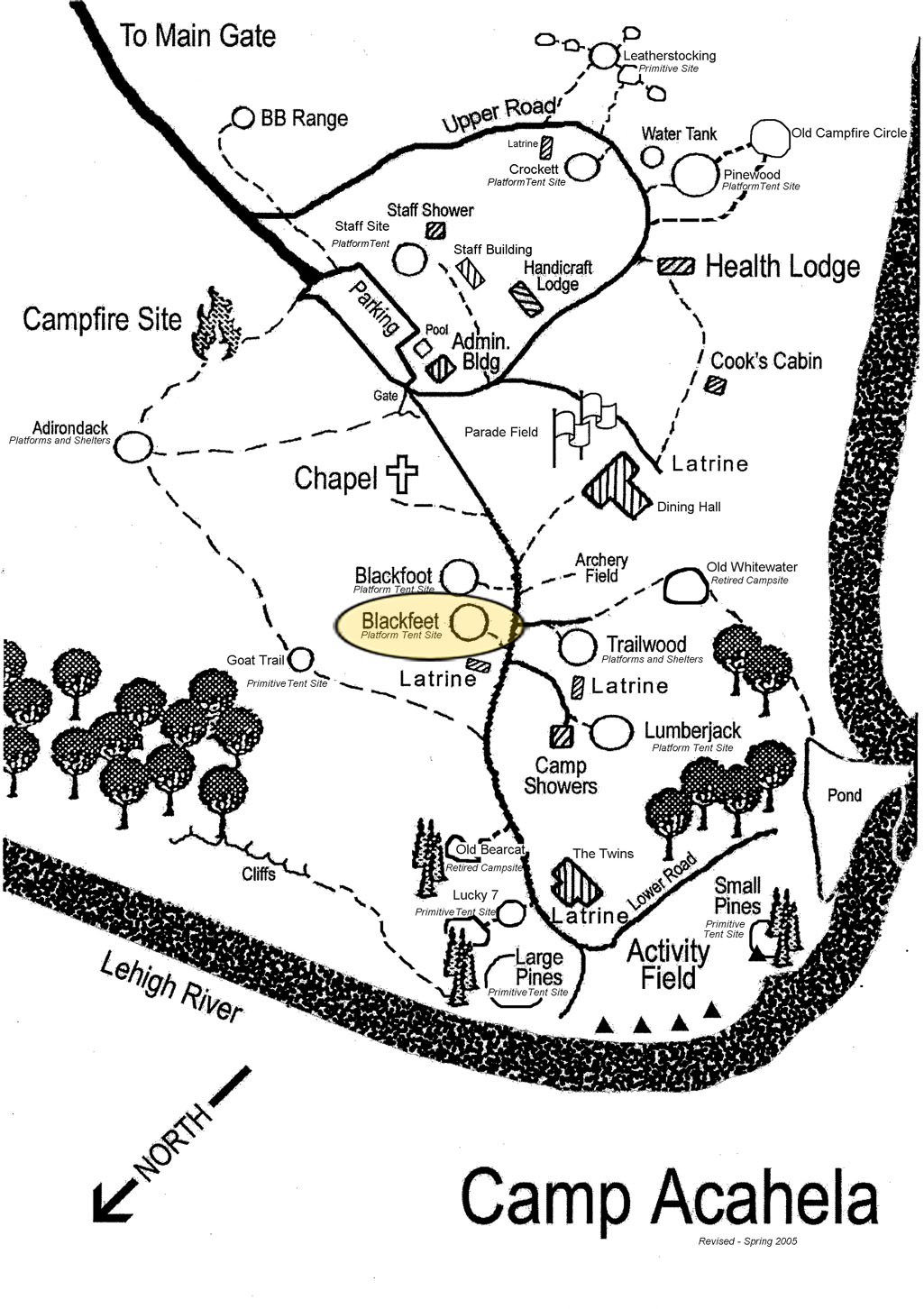 Location of Blackfeet Campsite in camp.